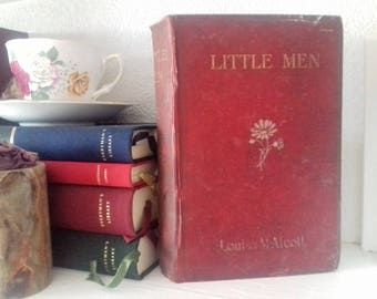 Little Men by Louise May Alcott Burgandy Vintage Hardback Book circa 1923