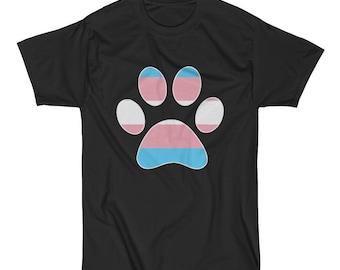 Trans Pride Dog Paw Short Sleeve T-Shirt lgbt lgbtq lgbtqia queer