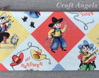 Cowboy Zipper Pouch, Cosmetic Case, Personalized Pencil Case, Back To School /Gift For Her/ School Supplies.