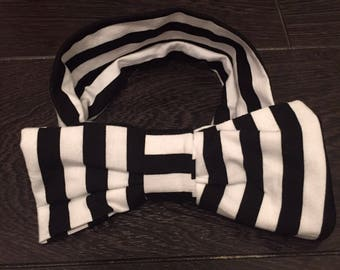 Black and White striped bow band