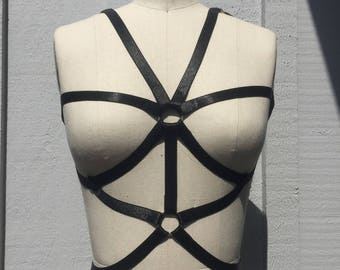 The XX Black Stretch Lace Elastic Harness Body Chain.