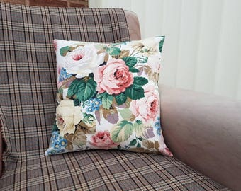 Floral scatter cushion, big flower pillow, cottage home decor, rustic country style, English country garden, gift for gardener, gift for her