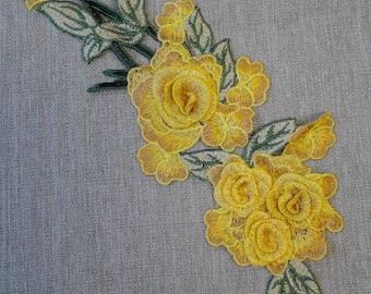 Sew on yellow flower patch applique #7C1453A