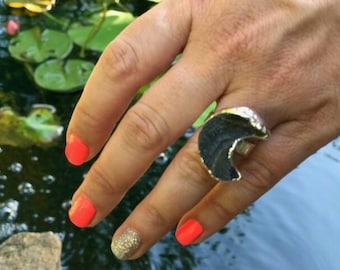 Druzy Moon Rings, black chalcedony