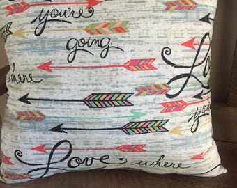 Love Where You're Going Decorative Pillow-Arrows-Inspirational-Mint Green-Coral-Home Decor-Graduation Gift-Life Changes