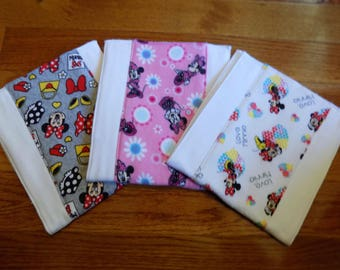 Set of 3 Disney's Minnie Mouse Burp Cloths - Baby Shower Gift - Baby Girl