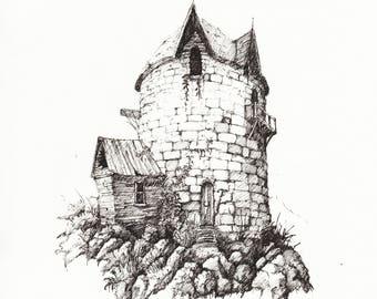 Ramshackle Tower - print