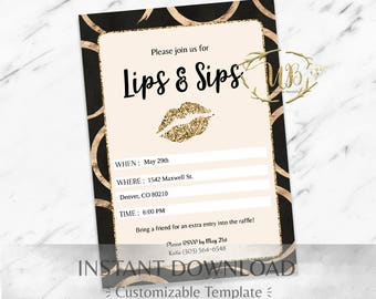 Gold|Circles|Black|Glitter|LipSense Party Invitation|LipSense|SeneGence|LipSense Party Invite Printable|LipSense Party|LipSense INSTANT|Lips