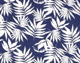 Vintage Palms on Denim Blue Jersey Knit