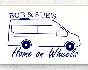"""Class B Camper Personalized Home on Wheels Vinyl Decal (6"""" x 3.7"""")"""