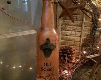 Old School Bottle opener, motorcycle, 3D, Cherry wood