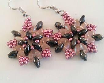twin beads, hand weaving pearls earrings