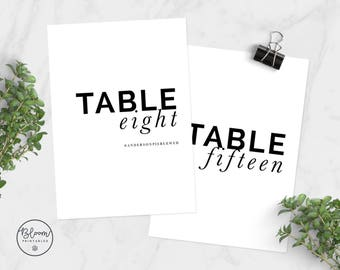 Minimal Wedding Table Numbers, Minimal Table Numbers, Table Numbers, Printable Table Numbers, Minimal Wedding