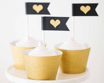 heart cupcake flag toppers, heart cupcake toppers, engagement party cupcake toppers, modern cupcake heart toppers
