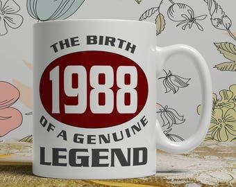 Legend 30th Birthday mug, 30th birthday idea, born 1988 birthday, 30th birthday gift, 30 years old, Happy Birthday, EB 1988 Legend