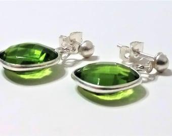 Genuine Faceted Peridot Sterling Silver Drop Stud Earrings - Peridot Earrings - Green Peridot Earring -Bezel Set Earring - August Birthstone