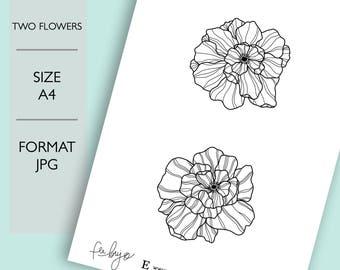Two Flowers Printable - Printable Planner Stickers, Printable stickers, Flowers Scrapbooking