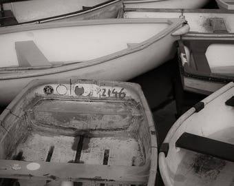 Landscape Photograph, Monochrome, Rowing Boats, Devon