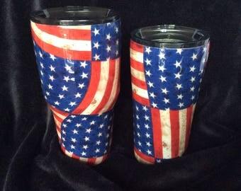 Vintage American flag thermal tumblers
