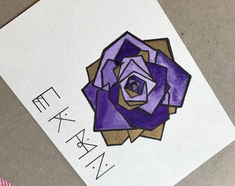 Personalized Geometric Rose Stationary/Card