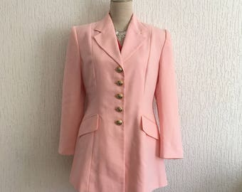 Vintage 1980s long pink, curved, peplum jacket / 90's Max Swing, Made in Italy, t44 (= 40/42)