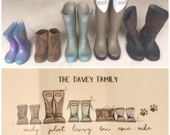 Personalised Wellington Boots Family Painting - A5
