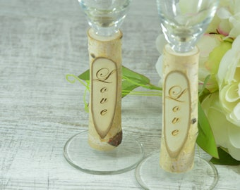 Rustic Wedding Glasses Toasting Glasses Rustic Toasting Flutes Wedding Champagne Flutes Bride and Groom Wedding Glasses