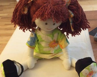 Hand Made Hand Stitched Rag Doll Julie