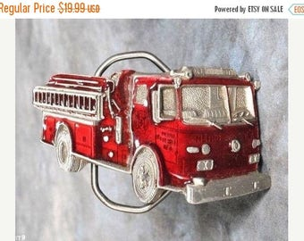 Summer Sale Red Fire Truck Belt Buckle - The Great American Buckle Co. Copyright 1981