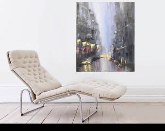 "Oil painting on canvas 20x24 ""Rainy city"""