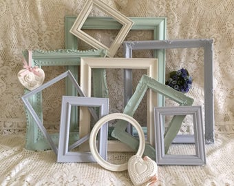 Shabby Chic Frames Painted Photo Picture Frames Ornate Frame Set Wall Decor Cottage Chic Open Frame Set Nursery Wedding Display