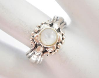 Pearl Ring, Sterling Ring, Vintage Pearl Ring, Silver Ring, Vintage Sterling Silver Round Mother Of Pearl Band Ring Sz 8 #3135