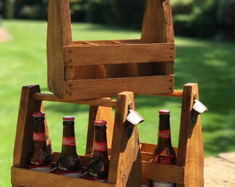 Rustic Wooden Beer Caddy - Beer Crate / Beer Holder / Beer Carrier / Bottle Holder