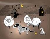 Gothic Australian Cattle Dog Herding Sheep Matted Print