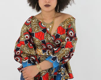 ANKARA BLOUSE, Ankara wax top, top, Blouse with puff sleeves.
