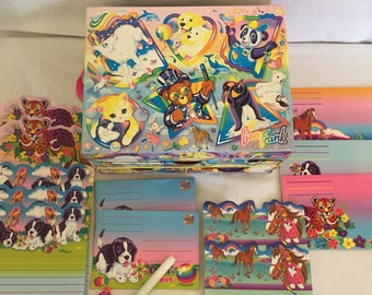 Vintage 1990's Lisa Frank Stationary Set, and Storage Box.