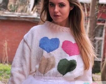 Hand knitted sweater, wool, silk,  mohair