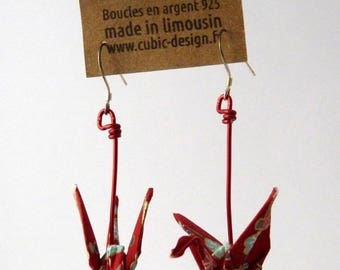 Origami crane earrings red branches