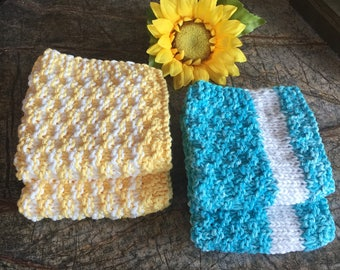 Knitted dishcloths, set of 2, dishcloths, kitchen dishcloth, wash cloths, kitchen, gift, dining, washcloth,  hostess gift