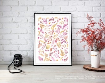 Pink Red Orange Branches and Leaves //Signed ORIGINAL Watercolor Painting/Illustration/Pattern