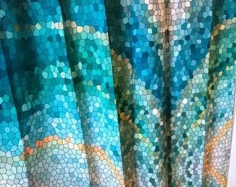 teal mosaic shower curtain