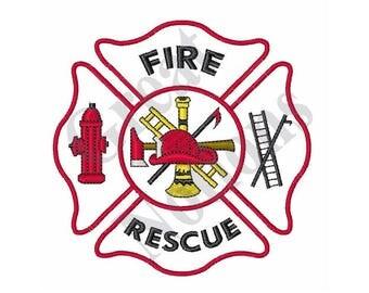 Maltese Cross Fire Rescue - Machine Embroidery Design