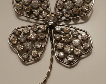 Vintage Jeweled Clover Pin/Brooch, Silver Tone Pin With Rhinestones.