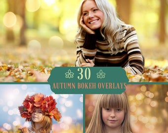 30 Autumn Bokeh Overlays, Bokeh Photo Overlay, Photoshop Overlays, Bokeh Lights, Autumn backdrop, Lights Overlay,Halloween, Fall, Nature