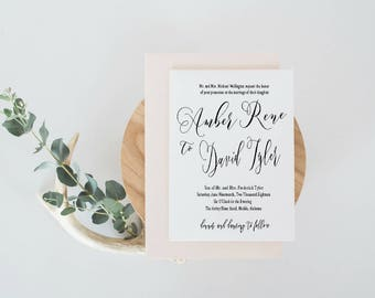 Elegant Wedding Invitation, Romantic Wedding Invitation, Calligraphy Wedding Invitation, Custom Invitation, Digital Wedding Invitation Set