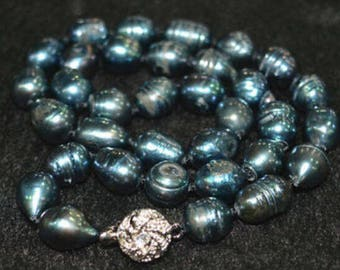 "Unique! 10-11 mm Blue-Black Tahitian Baroque Pearl necklace Natural  18 """