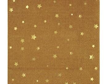 Fancy Gold Foil Kraft Napkins/ Star Paper Napkins/ Gold Star Napkins/ Kraft Napkins