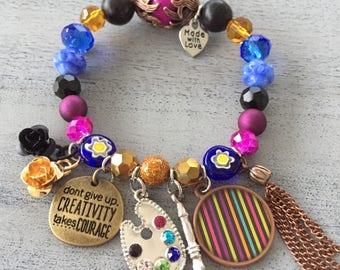 CREATIVITY TAKES COURAGE stretch charm bracelet