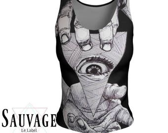 Eye See you - Athletic (like for yoga) (or not) Fitted tank top for the wild ones - Totally handmade in Montreal - S to XL
