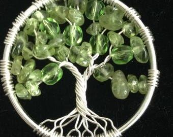 Peridot Tree Of Life  Necklace Pendant. Silver plated, natural peridot, Crystals,Prosperity, money tree